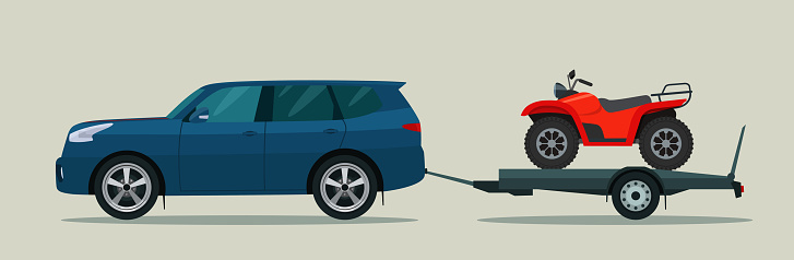 SUV car tows a trailer with a ATV. Vector flat style illustration.