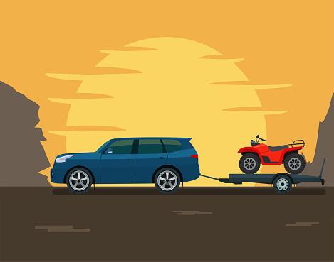 SUV car tows a trailer with a ATV