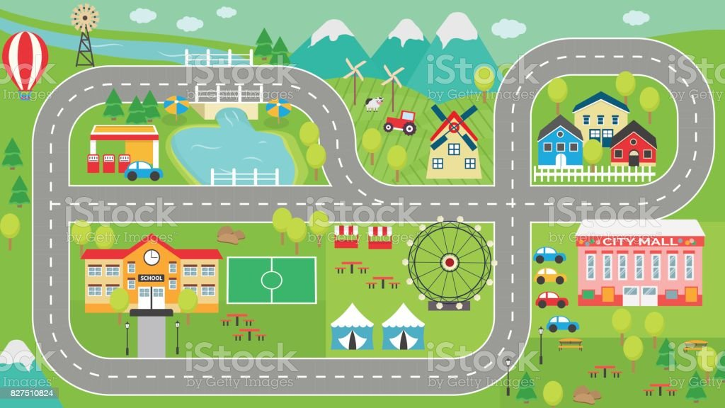 Car track play placemat HD vector art illustration