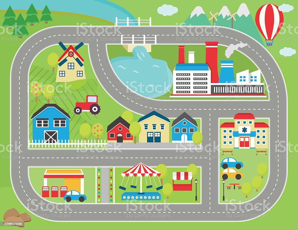 Car track play placemat vector art illustration