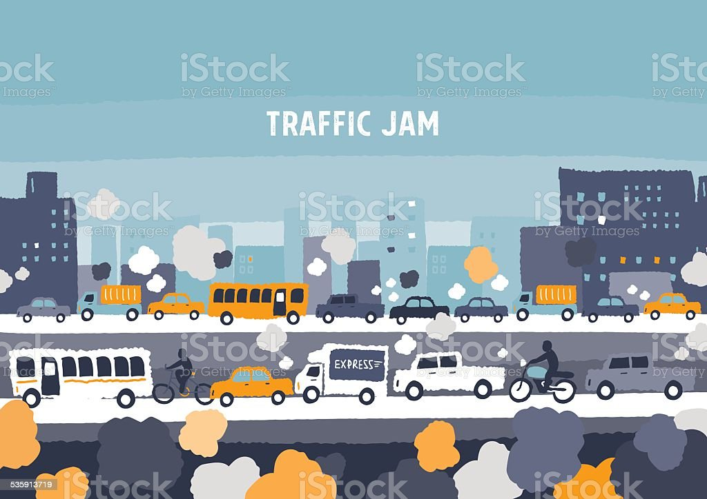 Car traffic jam - freehand drawing vector Illustration vector art illustration