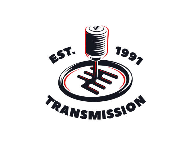 Car transmission service emblem on white background. Car transmission service emblem on white background. gearshift stock illustrations