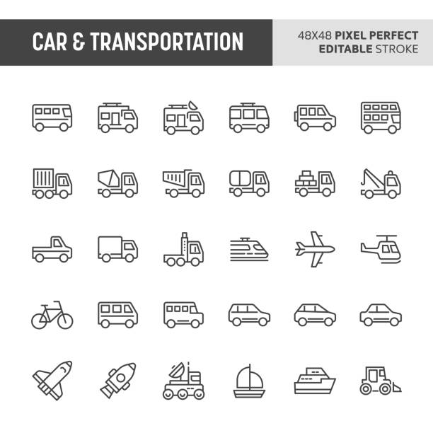 Car & Transportation Icon Set 30 thin line icons associated with car & transportation. Symbols such as bus, truck, van and other light and heavy vehicle are included in this set. 48x48 pixel perfect vector icon & editable vector. hatchback stock illustrations