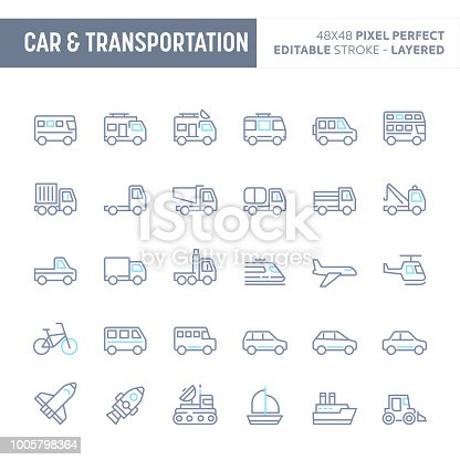 Car & transportation - simple outline icon set. Editable strokes and Layered (each icon is on its own layer with proper name) to enhance your design workflow.
