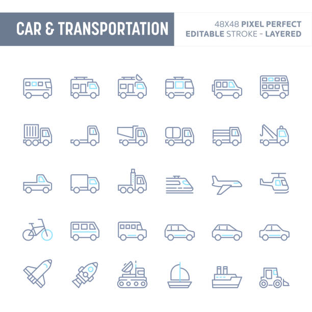 Car & Transportation Minimal Vector Icon Set (EPS 10) vector art illustration