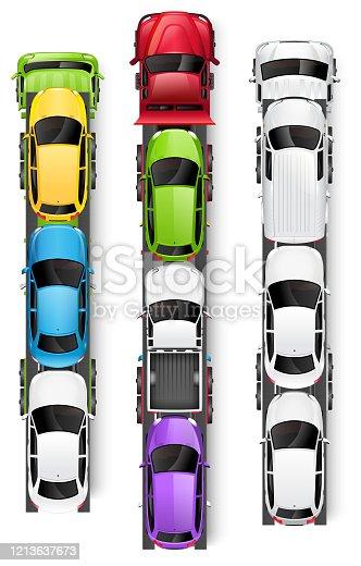 Car transporter trucks top view vector illustration