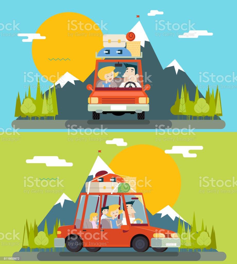 Car Trip Family Adult Children Road Concept Flat Design Icon vector art illustration