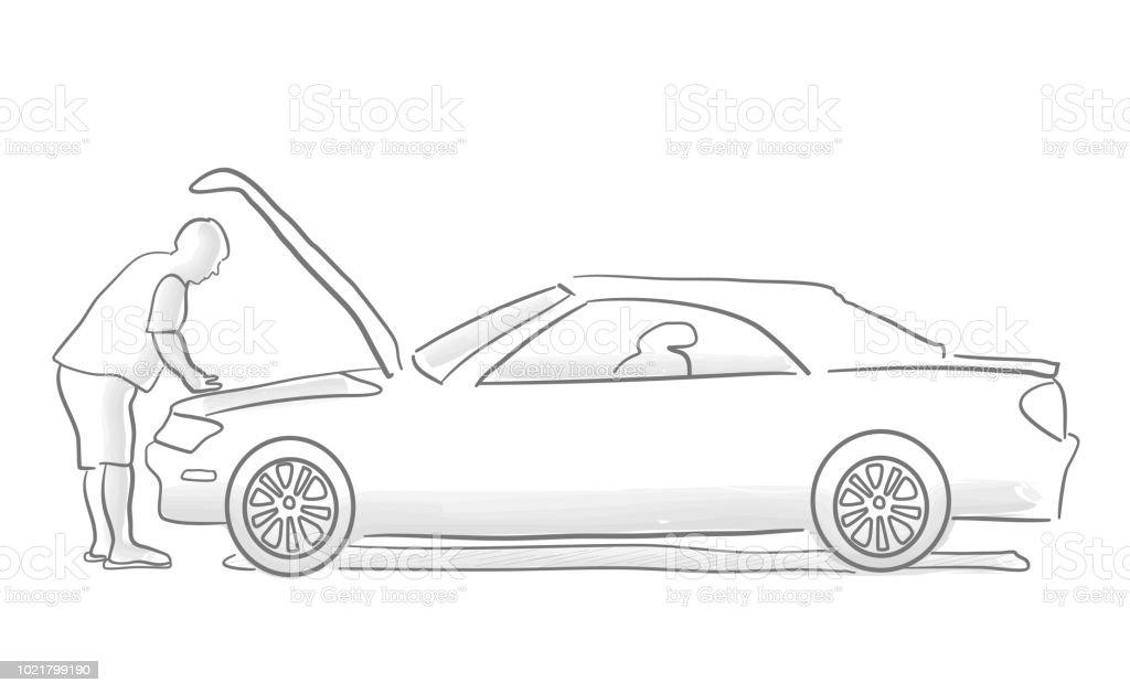 Car Troubles vector art illustration