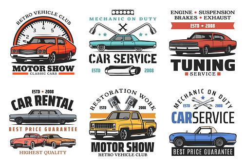 Car tuning, restoration and repair service icons