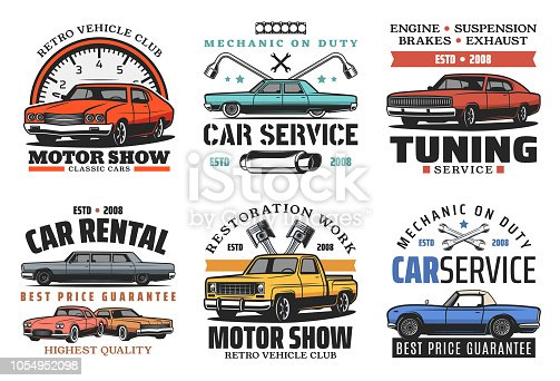 Car service, tuning or restoration icons. Garage station. Vector off-road vehicle and outdoor adventure, retro car and auto parts vintage symbols and wrenches