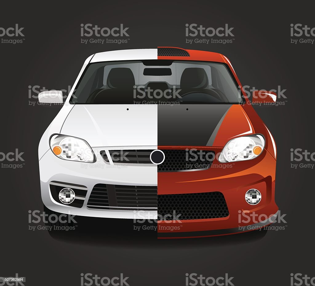 Car tuning vector art illustration