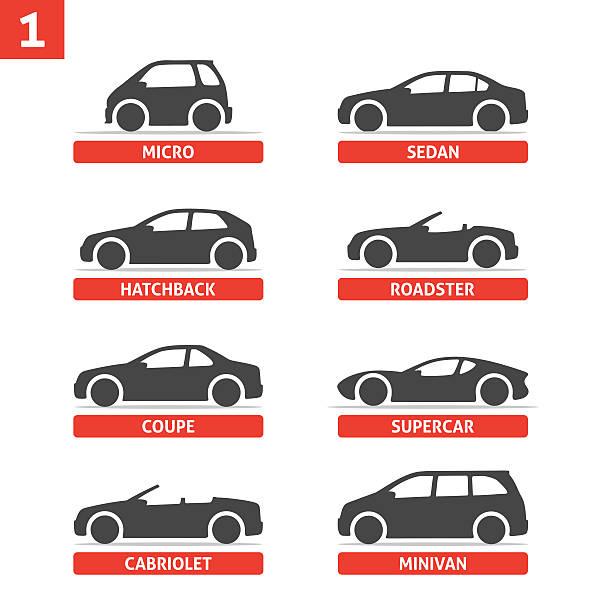 Type de de voiture et modèle des objets icônes Ensemble, en voiture. - Illustration vectorielle