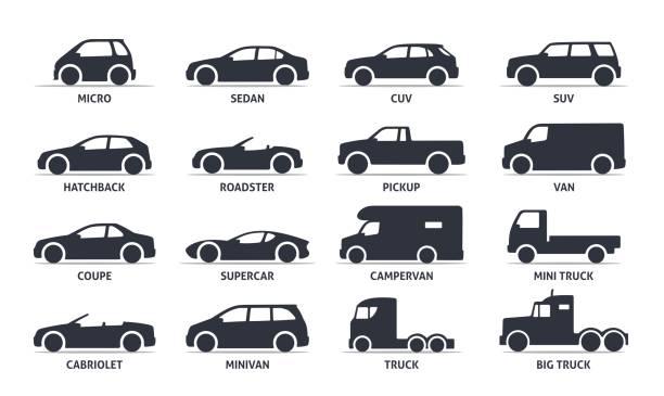 illustrazioni stock, clip art, cartoni animati e icone di tendenza di icone tipo di auto e oggetti modello set, automobile. - auto