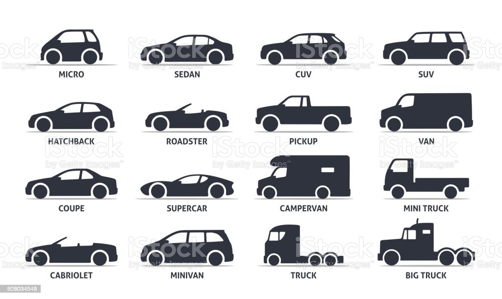 Car Type and Model Objects icons Set, automobile. - illustrazione arte vettoriale