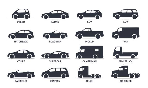 Car Type and Model Objects icons Set, automobile. Car Type and Model Objects icons Set, automobile. Vector black illustration isolated on white background with shadow. Variants of car body silhouette for web. personal land vehicle stock illustrations