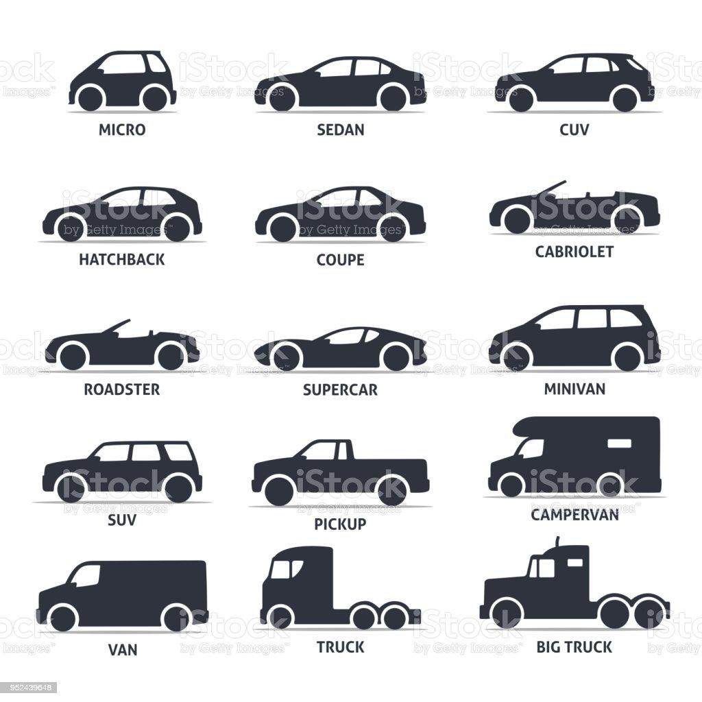 Car Type and Model Objects icons Set, automobile. Car Type and Model Objects icons Set, automobile. Vector black illustration isolated on white background with shadow. Variants of car body silhouette for web. Black Color stock vector