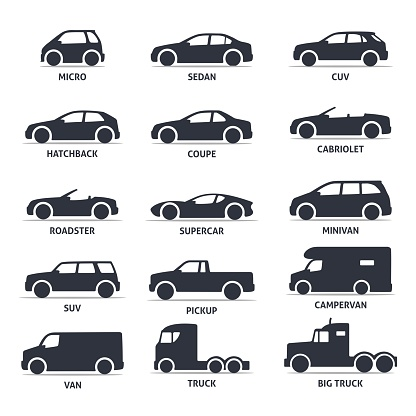 Car Type And Model Objects Icons Set Automobile Stock Illustration - Download Image Now
