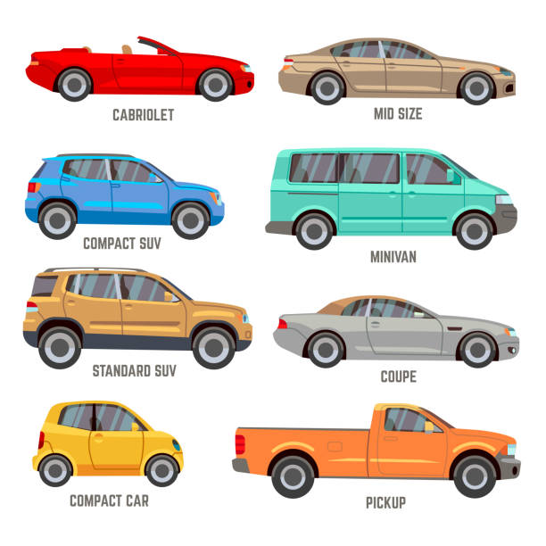 Car types flat icons Car types vector flat icons. Automobile models icons set hatchback stock illustrations