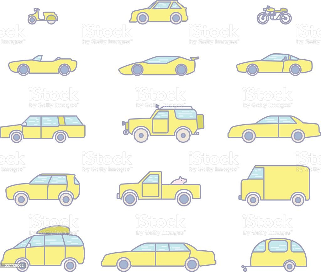 car types outline icons set stock vector art 607769002 istock