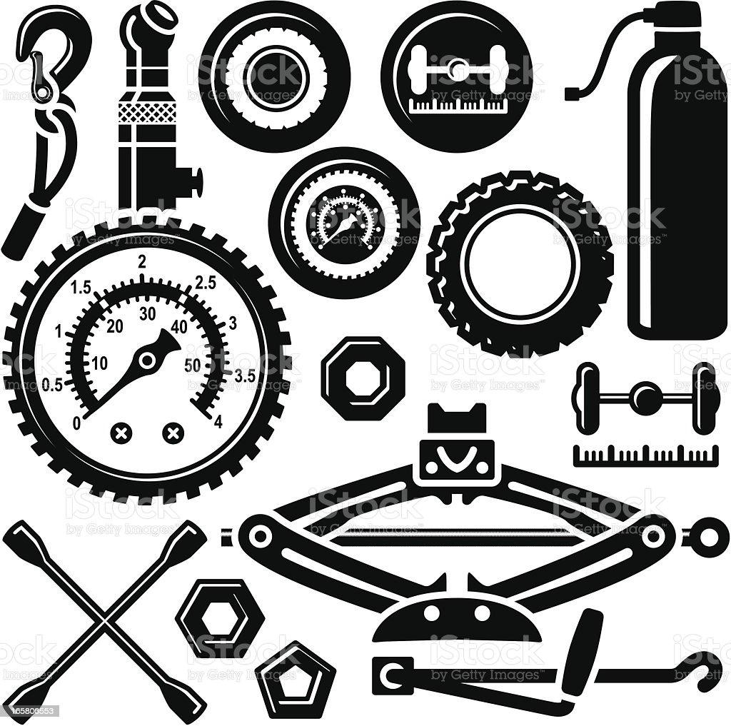 Car Tyre Repairing Set Icons vector art illustration