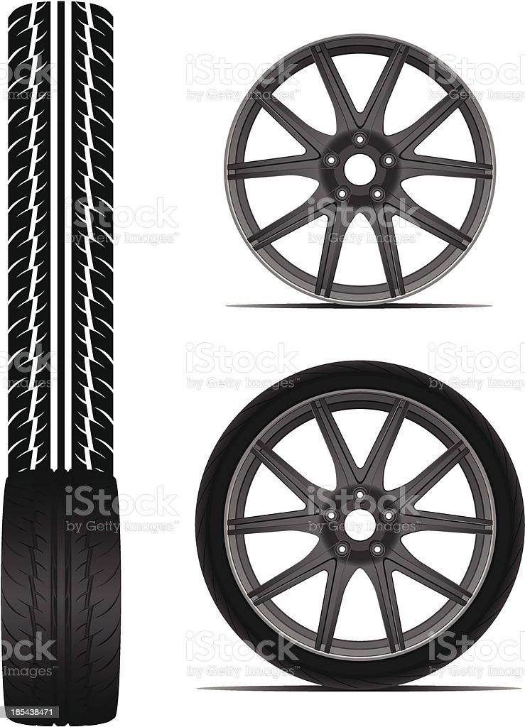 Car tyre set eps8 royalty-free stock vector art