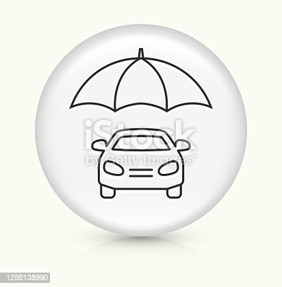 Car Under Umbrella Icon. This 100% royalty free vector illustration is featuring a round button with a drop shadow and the main icon is depicted in black. The button had a slight bevel 3D effect.
