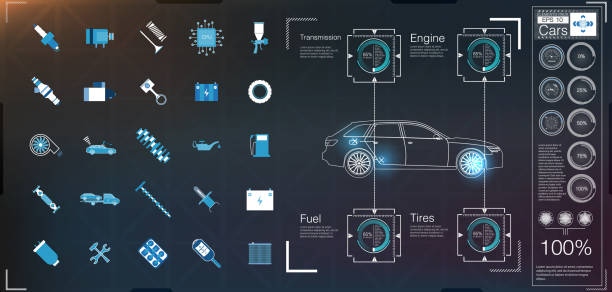 Car user interface. HUD UI. Abstract virtual graphic touch user interface. Cars icon. vector art illustration
