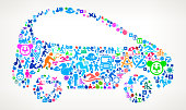 Car  Vacation and Summer Fun Icons Background