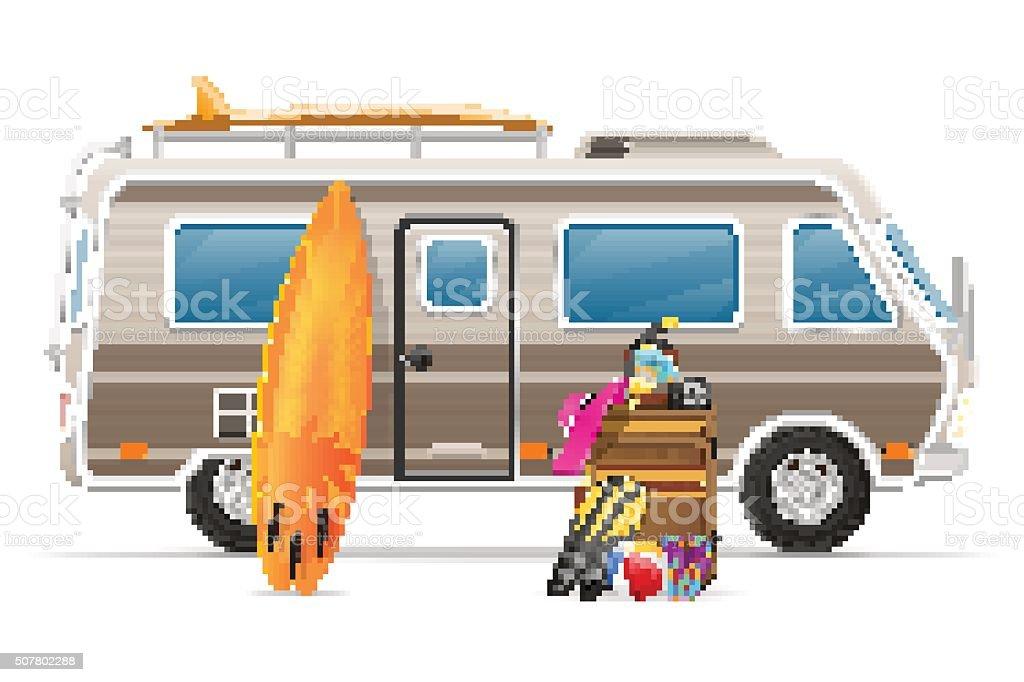 Caravana Camper Van De Casa Móvil Con Accesorios De Vector De De ...