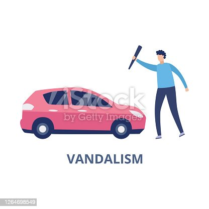 Car vandalism scene with man hitting automobile, flat vector illustration isolated on white background. Emblem or banner for car damage of vandalism insurance.