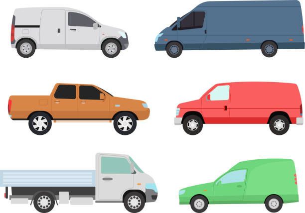 Car vechicle transport isolated vector Different car vehicle transport type design sign technology vector. Generic car different design flat vector illustration isolated on white. Pickup, sedan, bus or truck van and other car vehicle mini van stock illustrations
