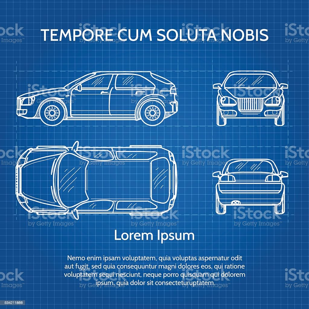 Car Vector Blueprint Royalty Free Car Vector Blueprint Stock Vector Art  U0026amp; More Images