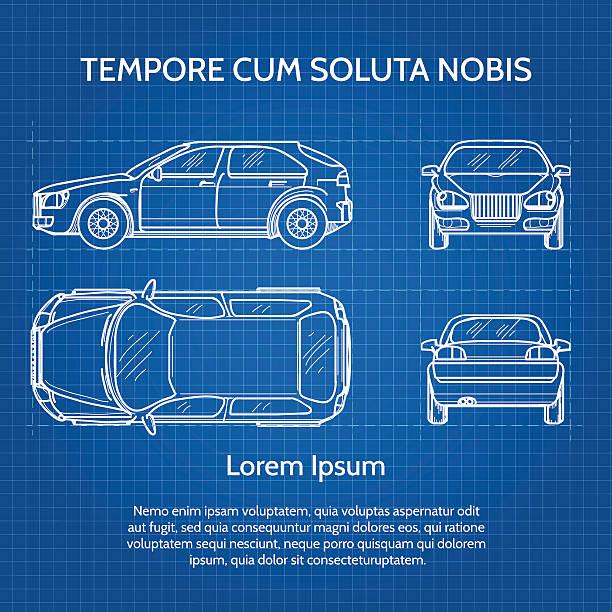 Technische Zeichnung Auto Vektorgrafiken und Illustrationen - iStock