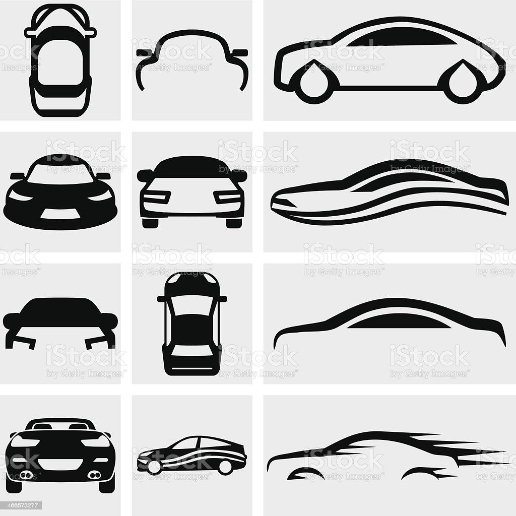 Car Vector Icon Set On Gray Stock Illustration