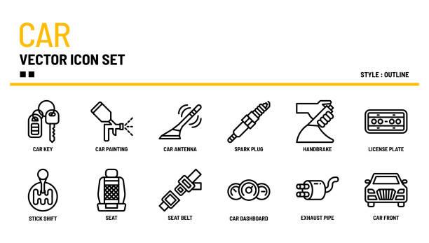 auto-vektor-icon-set - nummernschilder stock-grafiken, -clipart, -cartoons und -symbole