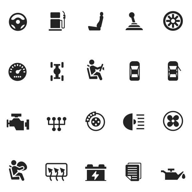 auto-vektor-icon-set - fahrzeugsitz stock-grafiken, -clipart, -cartoons und -symbole