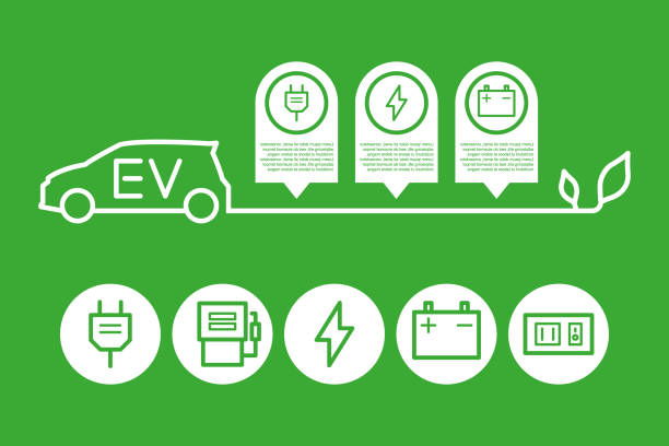 EV car Electric, Energy, Saving, Car, Charging hybrid car stock illustrations