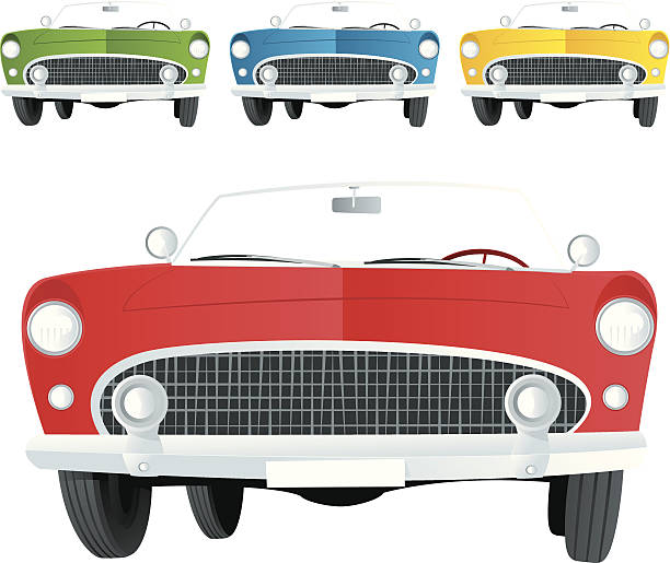 Car Cartoon Vintage Car convertible stock illustrations