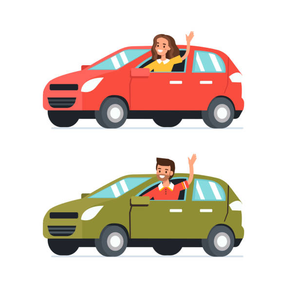 car Happy man and woman  drive their cars.  Flat style vector illustration isolated on white background. car stock illustrations
