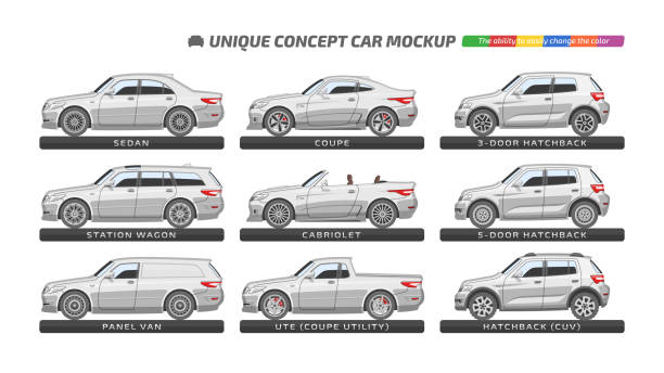 Car Vector car type template with unique concept isolated sedan, station wagon, hatchback, coupe and cabriolet mockup. Vehicle branding and advertising blank. The ability to easily change the color. hatchback stock illustrations