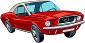 Red cute American car in vector.