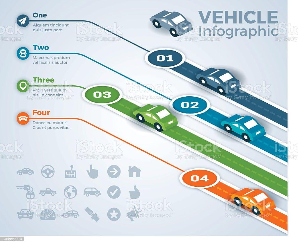 Voiture, véhicule et infographie conduite - Illustration vectorielle