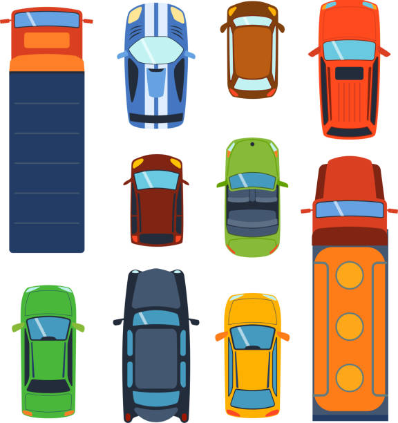 Car vehicle top view vector Vector car vehicle set icon top view. From above car top view. Some vehicle transport isolated on white. Transportation vehicle collection design car top view motor van. touring car stock illustrations