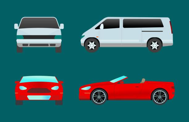 auto fahrzeug typ transportdesign reisen rennen modell zeichen technologie stil und generische automobil zeitgenössische kind spielzeug flache vektor illustration isoliert icon - cabrio stock-grafiken, -clipart, -cartoons und -symbole