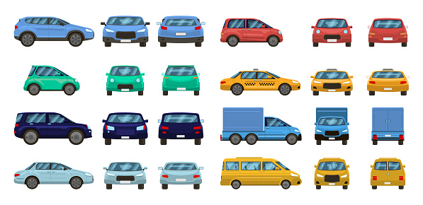 Car views. Front and profile side car view, urban traffic transport of different views. Auto transport vector isolated set