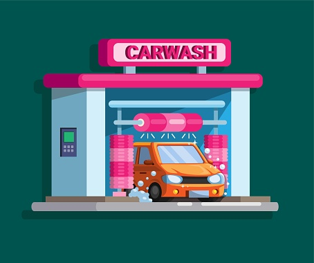 Car wash automatic drive thru building concept in cartoon illustration vector