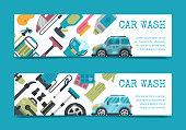 Car wash banner water transport cleaner background vector illustration. Washer car shower washing service auto vehicle cleaner station. Transportation clean care shiny business concept.