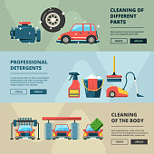 Car wash banners. Cleaning service water bucket and wiping sponge vector concept pictures