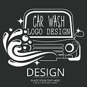 Car wash cartoon logo on blackboard.