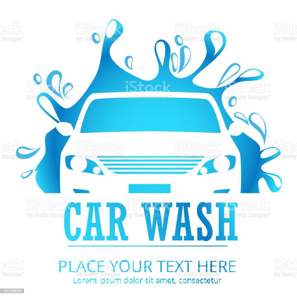 Car wash cartoon logo.